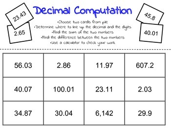 decimals to hundredths subtraction and addition