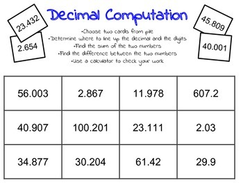 decimals to thousandths subtraction and addition