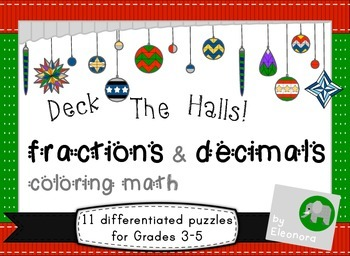 christmas coloring math fractions and decimals