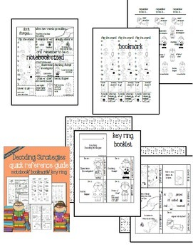 decoding strategies: notebook page/ bookmark/ keyring booklet