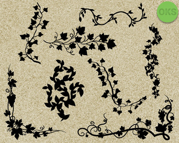 decorative vines SVG cut files, DXF, vector EPS cutting file instant download