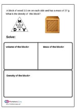 density problem worksheet