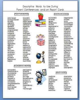 descriptive words that you can use on your report cards