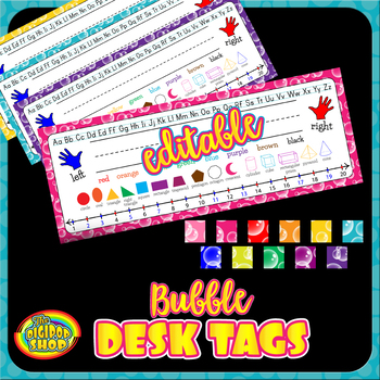 desk name plates editable - reference nametags, shapes, number line, alphabet