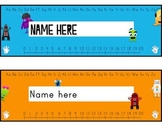 desk tags - monsters vs robots, K-3