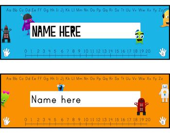 desk tags - monsters vs robots, K-3