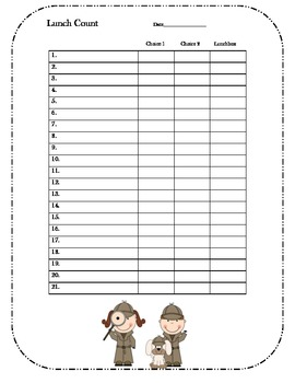detective daily lunch count form