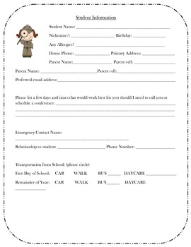detective student information sheet