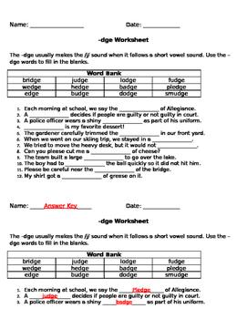 dge worksheet