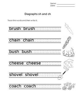 diagraphs sh & ch  revision worksheet