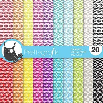 diamond harlequin digital paper, commercial use, scrapbook papers - PS636