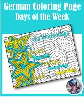 die wochentage- Days of the week German Adult Coloring Page