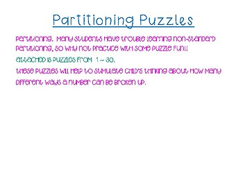 different ways to add 20 non standard partitioning puzzles