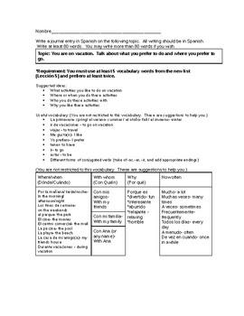 differentiated essay Spanish travel unit
