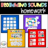 differentiated homework games packet for kindergarten phonics beginning sounds