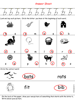differentiated instruction worksheets for beginning /b/ sounds