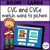 CVC and CVCe short and long vowels decoding practice Boom Cards™