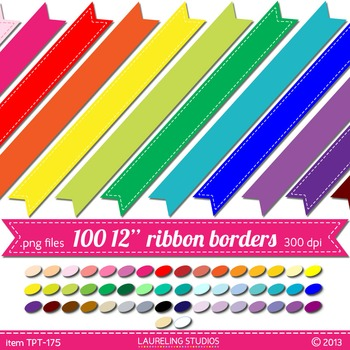 digital clip art border  - 100 .png banners in 50 colors  TPT175