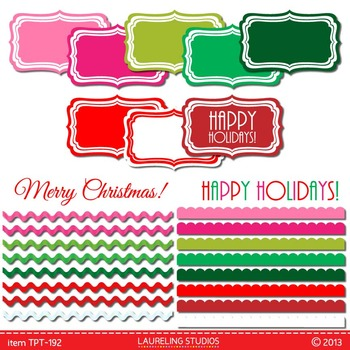 digital clip art borders, labels and text for Christmas/ho