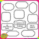 digital clip art frame set - layerable frames and labels