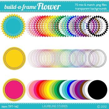digital clip art frames - mix and match .png frame set in 25 colors