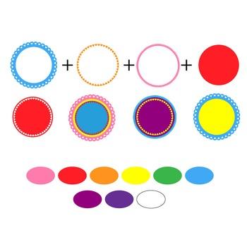 digital clip art frames - mix and match rainbow heart frames TPT180