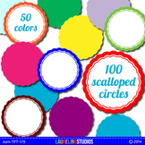 digital clip art frames - round frames with scalloped edges TPT179