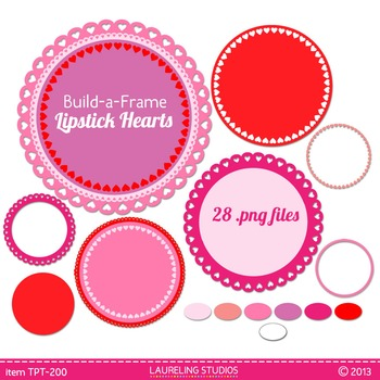 digital clip art frames - valentine heart frames to mix and match TPT200