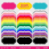 digital clipart frame and label set - 75 labels in 25 colors .jpg/.png TPT173