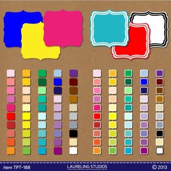 digital clipart frame/label set - 100 square artisan labels .png TPT188