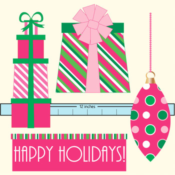 Happy Holiday clipart set -  .png files in red/pink/green