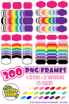 digital frame bundle// 300 clipart frames .png, 24 colors, black/white/gray