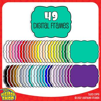digital frame clipart// 49 .png artisan doodle style labels