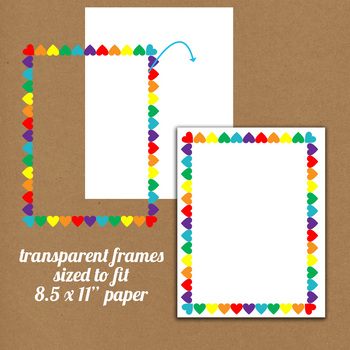 digital frames, product page frame, task cards with colorful heart border