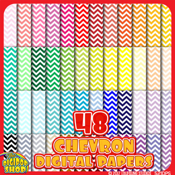 chevron digital paper in 48 colors .jpg files