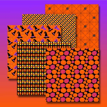 digital paper for Halloween with candy corn, pumpkins, spiders and witch hats