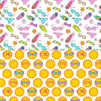 digital paper for summer with flip flops, sunglasses, starfish