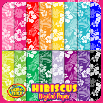 "digital paper with tropical flower pattern//.jpg background 12""x12"""