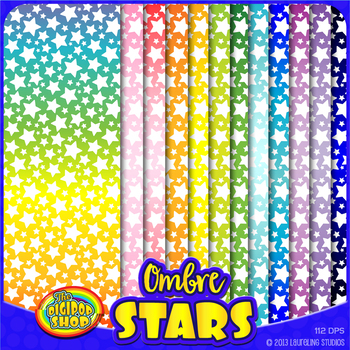 "digital paper with star pattern and ombre background - 12""x12"" .jpg printable"