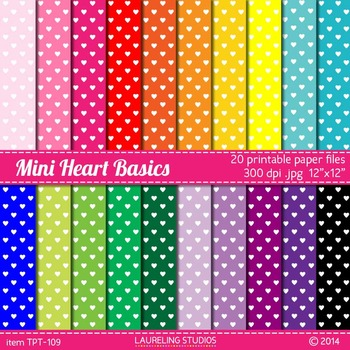 digital paper with mini hearts
