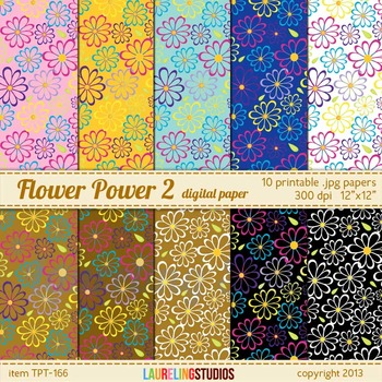 digital paper with printable floral pattern in earth tone colors