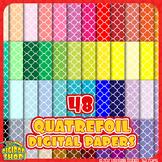 digital paper with quatrefoil pattern// 48 colors, black a