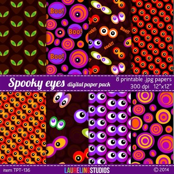 digital paper with spooky monster eyes