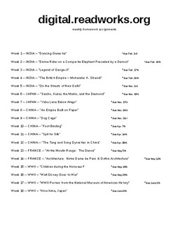 digital.readworks.org weekly homework assignments for English 2 / World Lit.