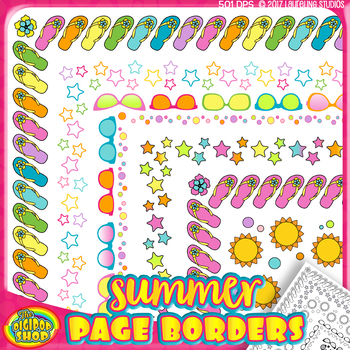 "digital summer border - page borders colors/grayscale 8.5""x11"""
