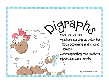 digraph mini-posters & sorting activity: ch, sh, th, wh