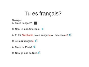 discovering french lesson 1B Tu es français?