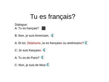 discovering french lesson 1B Tu es français?