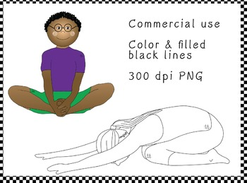 diverse ethnic kids in yoga poses - commercial-use clipart