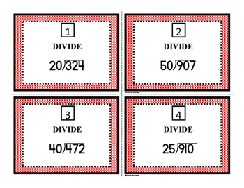 dividing by 10s and 25 task cards